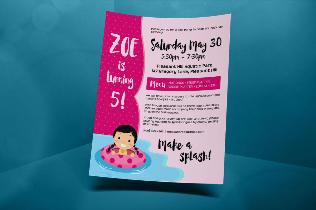 Pool Party Birthday Invitation - Zoe's 5th 2