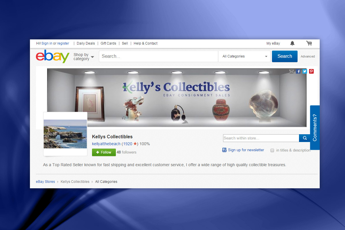 Kelly's Collectibles - Ebay Header Image 6